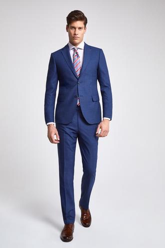 Ds Damat Slim Fit Lacivert Armürlü Takım Elbise - 8682060930095 | D'S Damat
