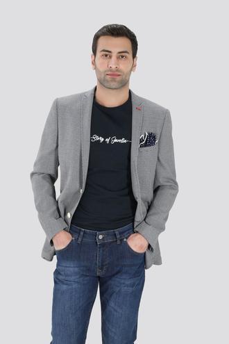 Twn Slim Fit Lacivert Armürlü Kumaş Ceket - 8682060353740 | D'S Damat