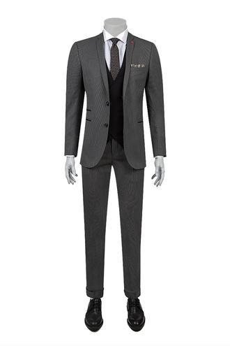 Twn Slim Fit Gri Armürlü Kombinli Takım Elbise - 8682060361707   D'S Damat