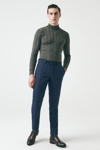 Damat Slim Fit Lacivert Kumaş Pantolon - 8682364415236   Damat Tween