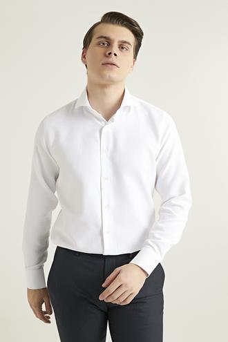 Ds Damat Slim Fit Beyaz Armürlü Gömlek - 8682445032246 | D'S Damat