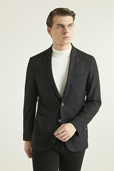 Ds Damat Slim Fit Siyah Düz Kumaş Ceket - 8682060781123 | D'S Damat