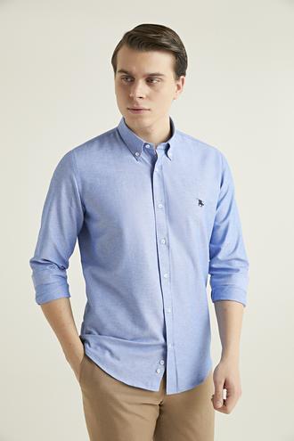 Ds Damat Slim Fit Mavi Oxford Gömlek - 8682445025019 | D'S Damat