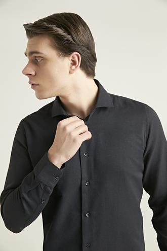 Ds Damat Slim Fit Siyah Armürlü Gömlek - 8682445026726 | D'S Damat
