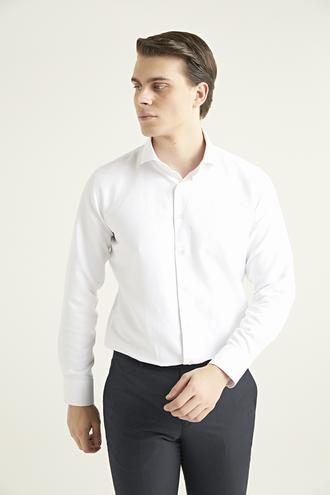 Ds Damat Slim Fit Beyaz Armürlü Gömlek - 8682445027068   D'S Damat