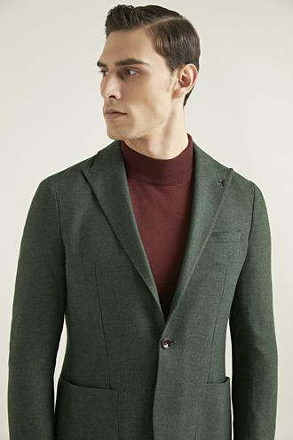 Tween Slim Fit Yeşil Kumaş Ceket - 8682364354894 | Damat Tween