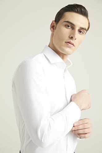 Ds Damat Slim Fit Beyaz Düz Gömlek - 8682445036565 | D'S Damat