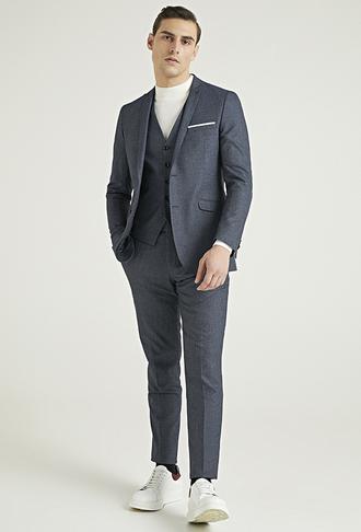 Tween Slim Fit Lacivert Yelekli Takım Elbise - 8682364436088   Damat Tween