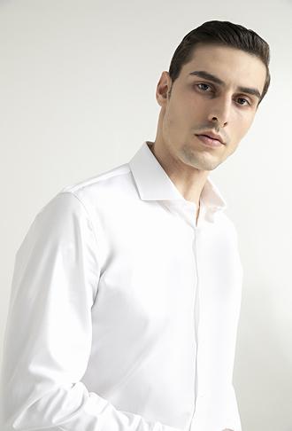 Damat Slim Fit Beyaz Düz Nano Care Gömlek - 8681649975403 | Damat Tween