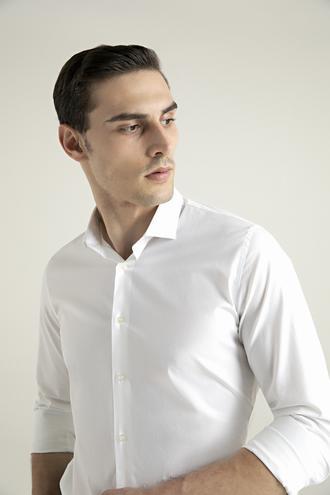 Tween Slim Fit Beyaz Düz Gömlek - 8682364510962 | Damat Tween