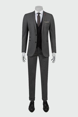 Twn Slim Fit Gri Armürlü Kombinli Takım Elbise - 8682060361707 | D'S Damat