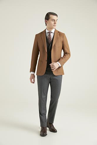 Ds Damat Slim Fit Camel Düz Kombinli Takım Elbise - 8682060708595 | D'S Damat