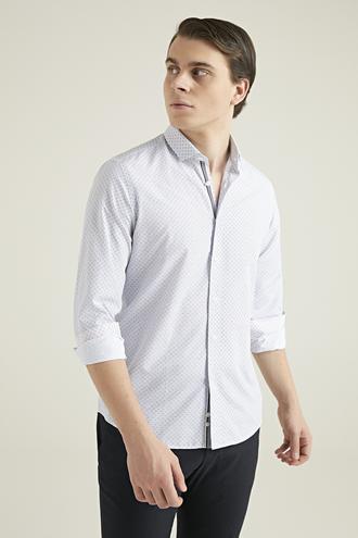 Twn Slim Fit Beyaz Baskılı Gömlek - 8681779617730 | D'S Damat