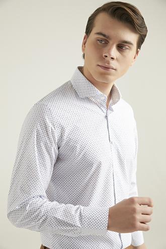 Ds Damat Slim Fit Beyaz Baskılı Gömlek - 8681779624288 | D'S Damat