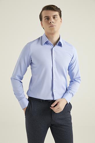 Ds Damat Slim Fit Mavi Armürlü Gömlek - 8681779511595 | D'S Damat