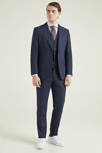 Ds Damat Slim Fit Lacivert Yelekli Takım Elbise - 8682060579508 | D'S Damat