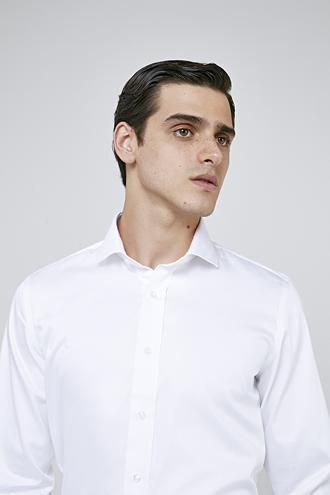 Ds Damat Slim Fit Beyaz Düz Nano Care Gömlek - 8682445045710 | D'S Damat