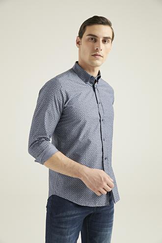 Twn Slim Fit Antrasit Baskılı Gömlek - 8682060835956 | D'S Damat
