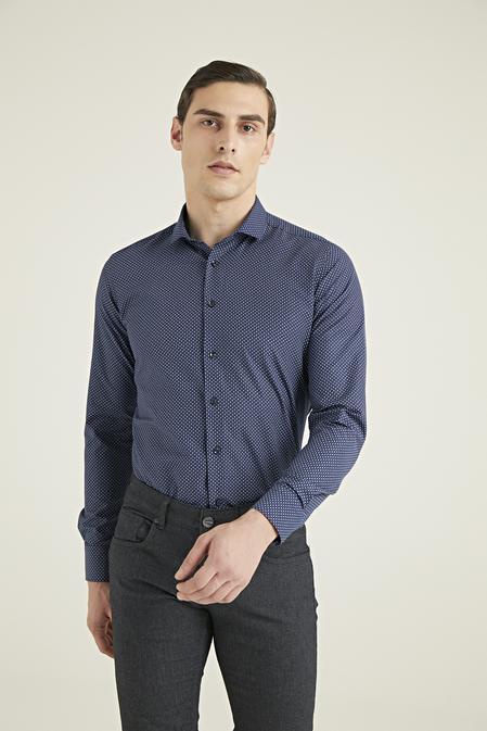 Twn Slim Fit Lacivert Baskılı Gömlek - 8682445024777 | D'S Damat