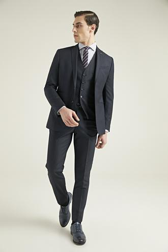 Twn Slim Fit Lacivert Düz Yelekli Takım Elbise - 8682060776389 | D'S Damat