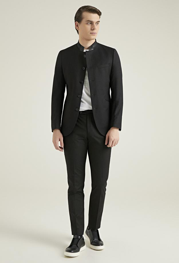 Twn Slim Fit Siyah Düz Travel Takım Elbise