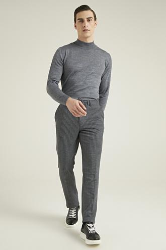 Tween Slim Fit Antrasit Çizgili Örme Jogger Pantolon - 8682364416592 | Damat Tween