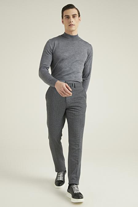 Tween Slim Fit Antrasit Çizgili Örme Jogger Pantolon - 8682364939879 | Damat Tween