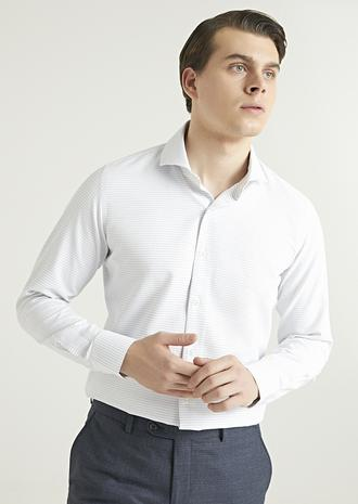 Ds Damat Slim Fit Beyaz Armürlü Gömlek - 8682445027044 | D'S Damat