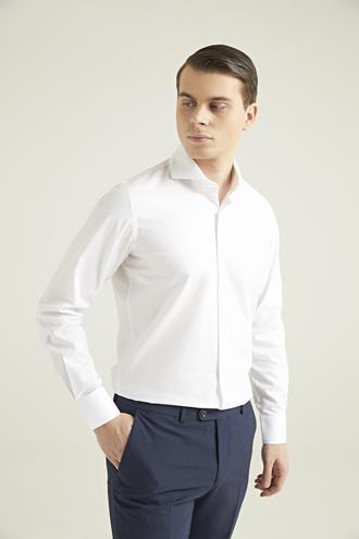 Ds Damat Slim Fit Beyaz Armürlü Gömlek - 8682060892287 | D'S Damat