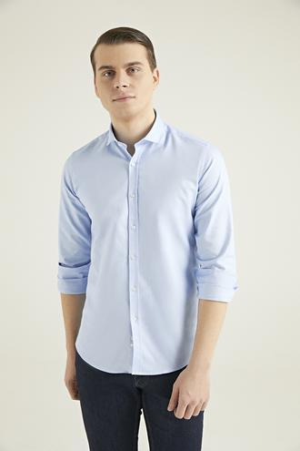 Twn Slim Fit Mavi Armürlü Gömlek - 8682445094725 | D'S Damat