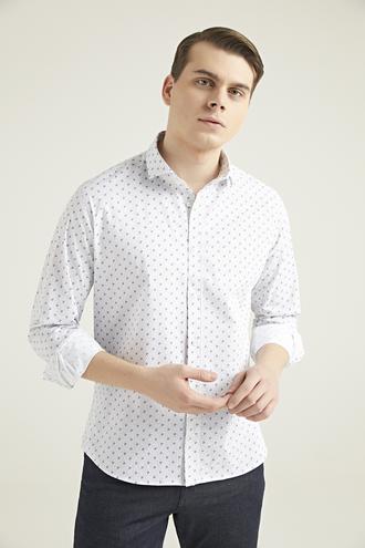 Twn Slim Fit Beyaz Baskılı Gömlek - 8682060346360 | D'S Damat
