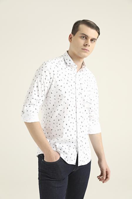 Twn Slim Fit Beyaz Baskılı Gömlek - 8682445097689   D'S Damat