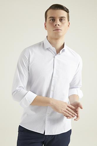 Twn Slim Fit Beyaz Armürlü Gömlek - 8682060197757 | D'S Damat