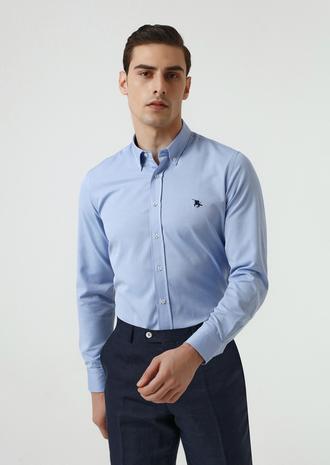 Ds Damat Slim Fit Mavi Oxford Gömlek - 8682445130263 | D'S Damat