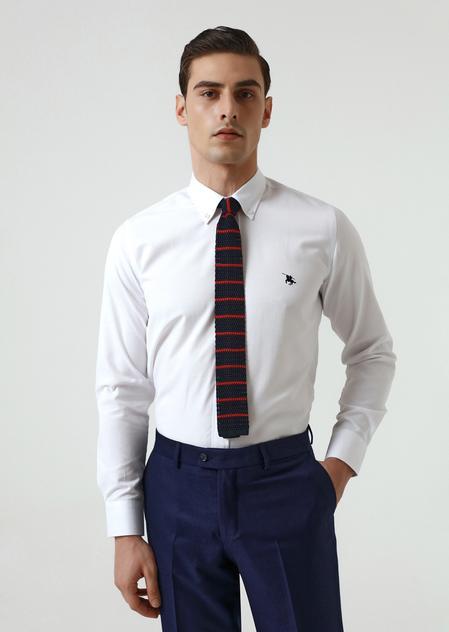 Ds Damat Slim Fit Beyaz Oxford Gömlek - 8682445130317 | D'S Damat