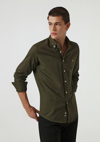 Ds Damat Slim Fit Haki Oxford Gömlek - 8682445130430 | D'S Damat
