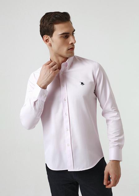 Ds Damat Slim Fit Pembe Oxford Gömlek - 8682445130485 | D'S Damat
