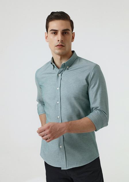 Ds Damat Slim Fit Yeşil Armürlü Gömlek - 8682445200423 | D'S Damat