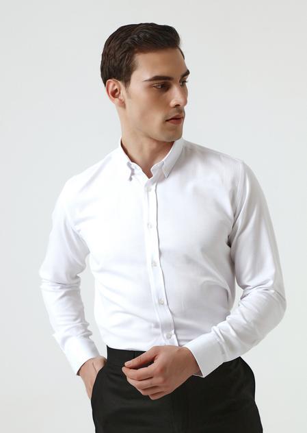 Ds Damat Slim Fit Beyaz Armürlü Gömlek - 8682445200492 | D'S Damat