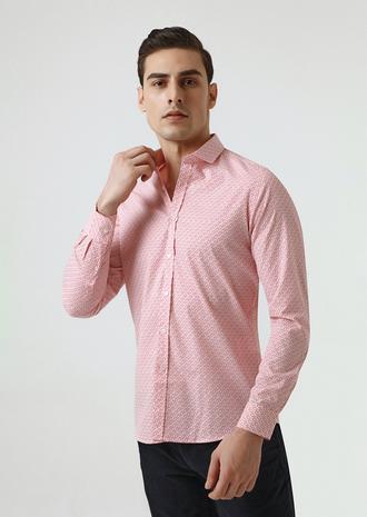 Twn Slim Fit Kırmızı Baskılı Gömlek - 8682060350091   D'S Damat