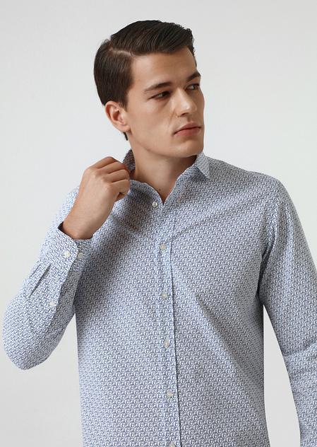 Twn Slim Fit Lacivert Baskılı Gömlek - 8682060350237 | D'S Damat