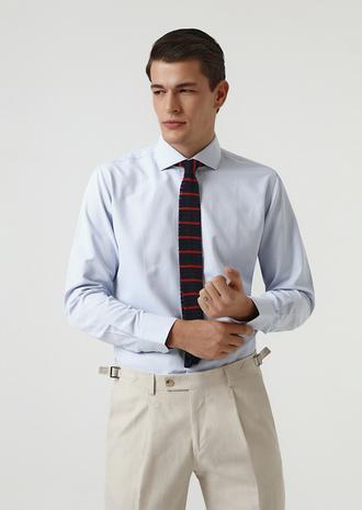 Ds Damat Slim Fit Mavi Armürlü Gömlek - 8682060062352 | D'S Damat