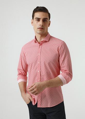 Twn Slim Fit Kırmızı Baskılı Gömlek - 8682060351401 | D'S Damat