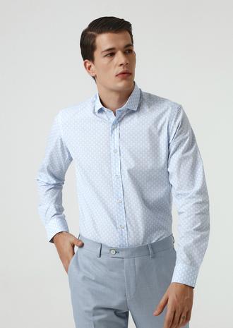 Twn Slim Fit Mavi Baskılı Gömlek - 8682060351562 | D'S Damat