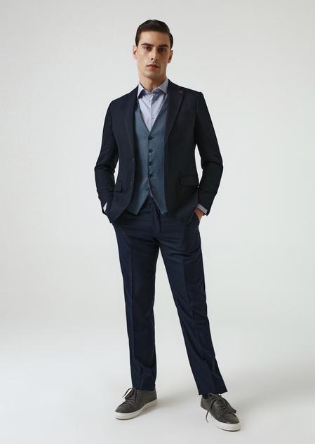 Ds Damat Slim Fit Lacivert Armürlü Kombinli Takım Elbise - 8682060395856 | D'S Damat