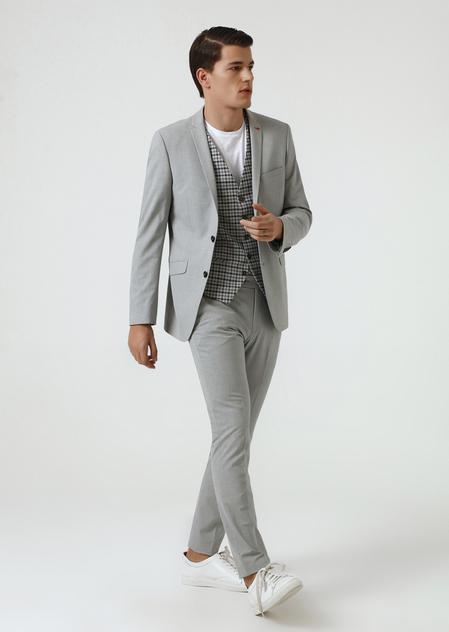 Twn Slim Fit Gri Armürlü Kombinli Takım Elbise - 8682060363824 | D'S Damat