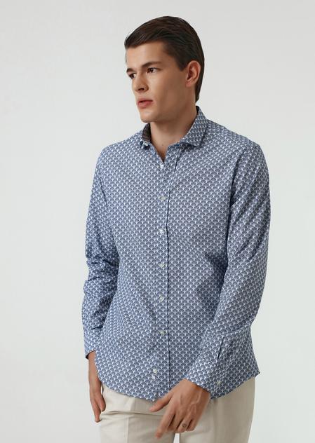 Twn Slim Fit Lacivert Baskılı Gömlek - 8682060352200 | D'S Damat