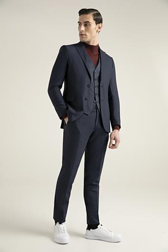 Tween Slim Fit Lacivert Yelekli Takım Elbise - 8682364458318   Damat Tween