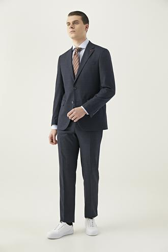 Ds Damat Slim Fit Lacivert Ekoseli Takım Elbise - 8682060897862 | D'S Damat