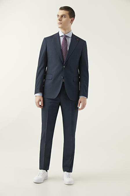 Ds Damat Slim Fit Lacivert Armürlü Takım Elbise - 8682060899453 | D'S Damat